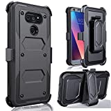 J.west V30S ThinQ Case,V30 Case, V30 Plus Case, V35 ThinQ Case - Full-Body Rugged Belt Clip Holster Kickstand Case Without Built-in Screen Protector Black