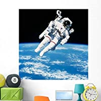 Astronaut Floating Space Wall Mural by Wallmonkeys Peel and Stick Graphic (48 in H x 47 in W) WM316323 [並行輸入品]