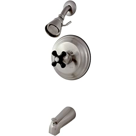 Kingston Brass Kb3638pkx Restoration Onyx Tub And Shower Faucet With Cross Handle Brushed Nickel