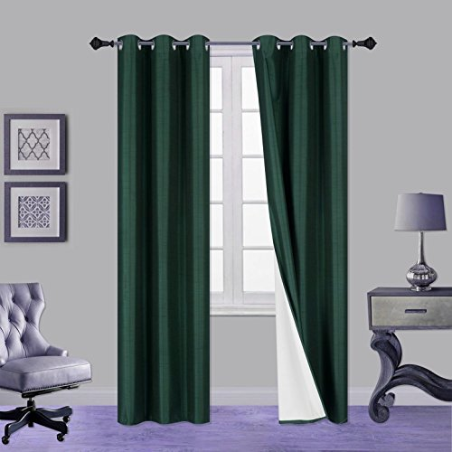 """Gorgeous HomeCOMES in Different Shades & Sizes (#64) 1 PC Solid Drape Silky Touch Lined Blackout Window Curtain (Emerald Green, 84"""" Length)"""