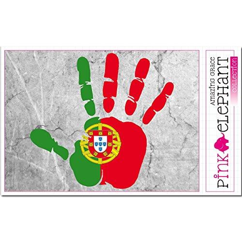 pinkelephant Aufkleber / Autoaufkleber - Portugal - rechte Hand - Fahne - 10 cm x 9,5 cm - finger print palm slap handabdruck mano
