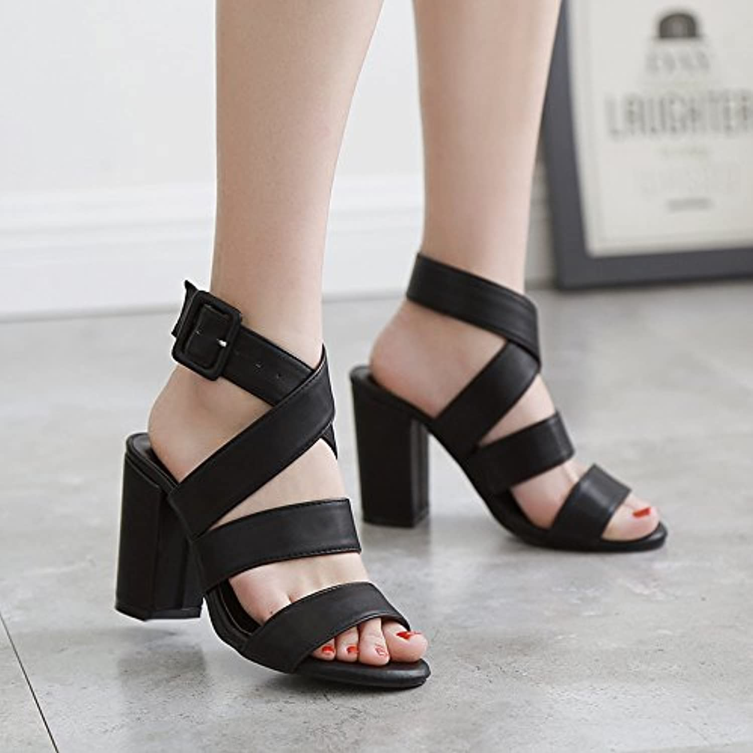 RUGAI-UE Sandals,retro high heeled shoes,Rome toes,hollowed sandals,ladies