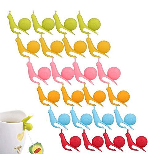 Sqxaldm Marcatore per Vetro Silicone Drink Bustina di tè in Silicone di Lumaca Marcatore per Bicchieri Silicone Porta Bustine di tè a Forma Silicone Marcatori Colorati per Vetri in Silicone(24 Pezzi)