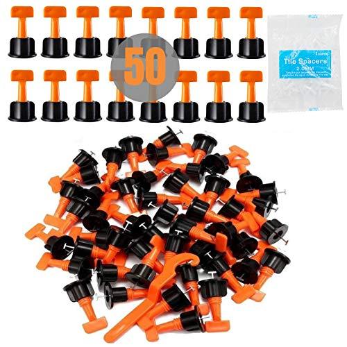 Fliesen-Nivelliersystem, wiederverwendbar, 50 Stück + 200 Stück 2 mm Fliesen-Abstandshalter mit Schraubenschlüssel, Fliesen-Nivellierset, Flieseninstallationswerkzeug für Böden, Wände, Gebäude