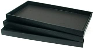 FindingKing 3 Black Leather Jewelry Display Trays Showcase Displays
