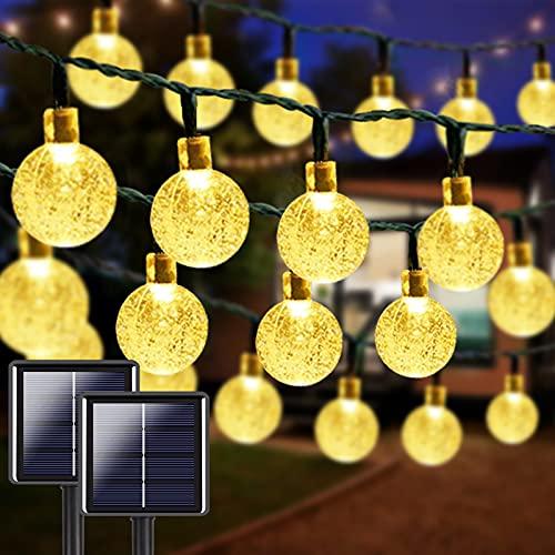 2-Pack 100 LED 32FT Crystal Globe Solar String Lights, Super Bright Solar Lights Outdoor Garden, 8 Lighting Modes Solar Powered Patio Lights for Christmas Wedding Party Decor (Warm White)