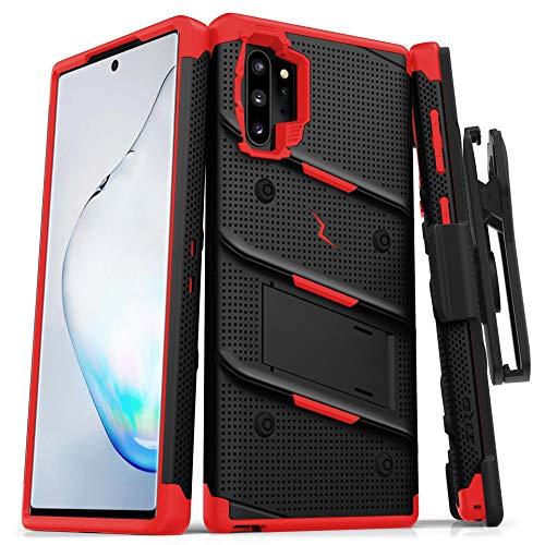 Zizo Bolt Series Schutzhülle für Samsung Galaxy Note 10 Plus, robust, militärischer Schutz, mit Ständer, Gürtelclip, Schlüsselband, schwarz/red
