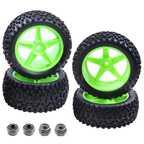 Hockus Accessories 4 Pieces Front & Rear Buggy Tyres Wheels 12mm Hex for 1/10 RC Car Fit Stormer 94105 Redcat Shockwave Nitro Buggy - (Color: Type 4)