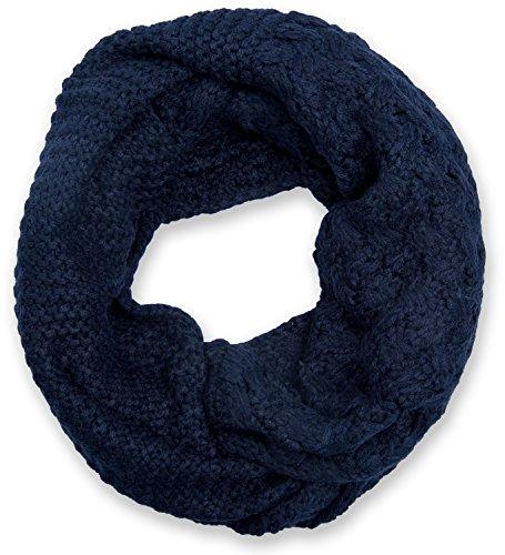styleBREAKER sciarpa scaldacollo in maglia con mix di motivi, sciarpa ad anello in maglia fine a tinta unita, sciarpa invernale in maglia, unisex 01018153, colore:Blu notte/Blu scuro