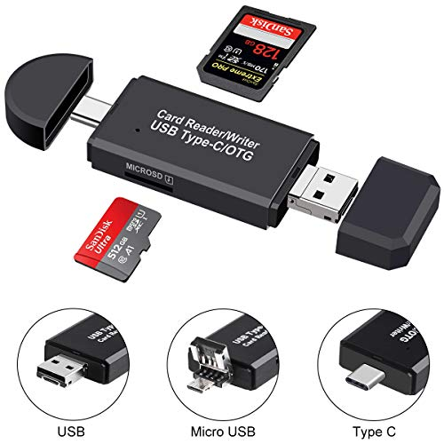 SD Card Reader Micro SD/TF Compact Flash Card Reader with 3 in 1 USB Type C/Micro USB Male Adapter and OTG Function Portable Memory Card Reader for amp PC amp Laptop amp Smart Phones amp Tablets