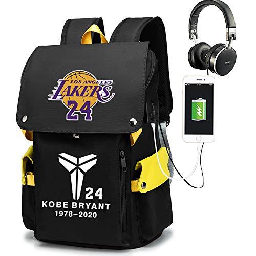 Haoshangzh55 Mochila Deportiva De Baloncesto L.A. Lakers # 24 Kobe Bryant Puja Paquete De Entrenamiento De Fans De Estrella Bolsa De Computadora Todo Coincidencia Mochila De Ocio,Amarillo