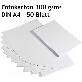 Cartón para foto, cartón, color blanco, 50 hojas, DIN A4, alta calidad, 300 g/m²: Amazon.es: Oficina y papelería