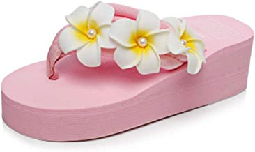 Ckrola Women Flower Platform Flip Flops Bohemia Summer Beach Thick Bottom Anti-Slip Thong Wedge Sandals