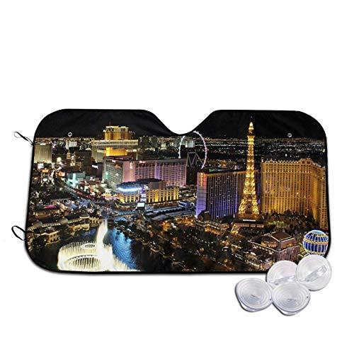 Las Vegas Night View - Parasol para parabrisas de coche, diseño impreso con rayos UV, tamaño mediano