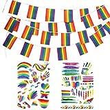 Bandera de orgullo gay con juego de pegatinas LGBT, 32.8 pies-38 banderines de arcoíris y...