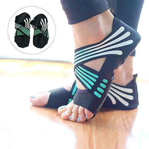 Lacyie rutschfeste Yoga-Socken für Damen, aus Baumwolle, halbe Zehe, Fünf-Zehen-Grip, rutschfest, Yoga, Pilates-Socken, Schuhe für Fitness, Tanzen, Turquoise 37/38