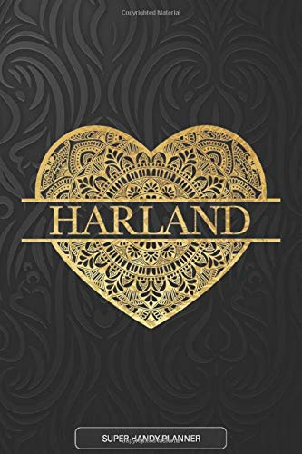 Harland: Harland Planner, Calendar, Notebook ,Journal, Gold Heart Design With The Name Harland