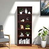 Cozy Castle Bookshelf, 5-Shelf Bookcase, Wooden Tall Bookshelf, Bookshelf for Family, Office, Display, Library, Cherry Finish