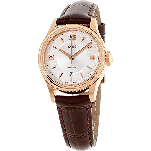 Oris Classic Date Silver Dial Leather Strap Ladies Watch 56177184871LS