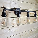 LOUmination Matte Black Vanity Fixture - Industrial Farmhouse Bathroom Light Fixtures - Metal Steampunk, Rustic Pipe Sconce - Dressing Room, Bedroom, Dining Room, Entryway, Hallway - 4 Lights