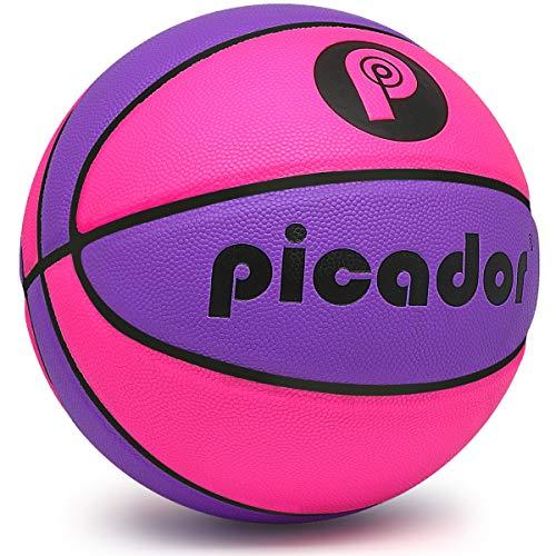 PP PICADOR Basketball 28,5 Zoll Outdoor/Indoor Größe 6 Ball aufgeblasen für Mädchen Frauen Jugendliche Studenten Geschenk Spiel Training (pink & lila)