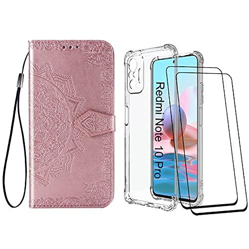 Abuenora [2 Pack] Funda para Xiaomi Redmi Note 10 Pro/Pro MAX + Protector de Pantalla Cristal Templado, Carcasa Libro con Tapa Antigolpes Case Silicona TPU Color Transparente + Oro Rosa