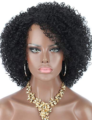 Kalyss kurze afro verrückte lockige Perücken für schwarze Frauen hochwertiges synthetishes Haar Perücken mit Pony 150% Dichte elastisch und voll natürliches Aussehen Haar Ersatz Perücken