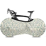 L.BAN Cubierta de Rueda de Bicicleta Sweet-Heart, Cubierta de Bicicleta de neumático Resistente a Prueba de arañazos Duradera - Retro Blue Vintage Damask Beige Classic Antique
