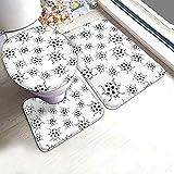 ROBTE Set de alfombras de baño Ladybug Contour de 3 Piezas, Juego de Alfombrillas de baño, alfombras de baño absorbentes alfombras Antideslizantes