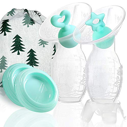 Bumblebee Manual Breast Pump with 2 Pack Breastfeeding Milk Saver Light Blue Star & Heart Stopper & lid in Gift Box Breastpump…