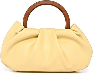 Evening Purse Clutch Bag and Cloud Dumpling Bag, Small Trendy Ruched Shoulder Croddbody Handbags with Wooden Handle