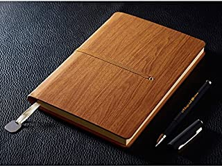 A5 Notebook, izBuy Leather Notebook and Pen Set Journal Diary Daily Use, 200 Lined Beige Pages, Wood Pattern Cover, Gel Pen Included