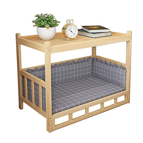 ZLI Safety Wooden Elevated Bed - Large Medium Small Dogs and Cats, Pet Play & Rest Cots with Mat, Spacious Space, Easy to Assemble (Size : L 75×50×65cm)