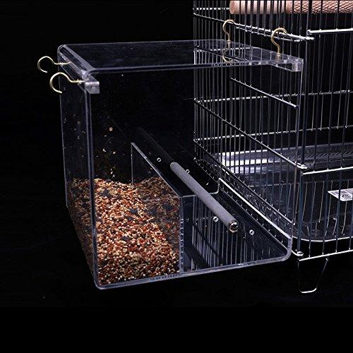 KINTOR バードフィーダー 小鳥給餌器 透明アクリル製 小鳥エサやり機 餌入れ 組立不要 鳥かご掛ける オウム給餌機 鳥籠フィーダー 鳥餌コンテナ オウム自動餌器 休日・週末の餌やり 出張・旅行・急用などの留守中の餌やり (M-16x16x16cm)
