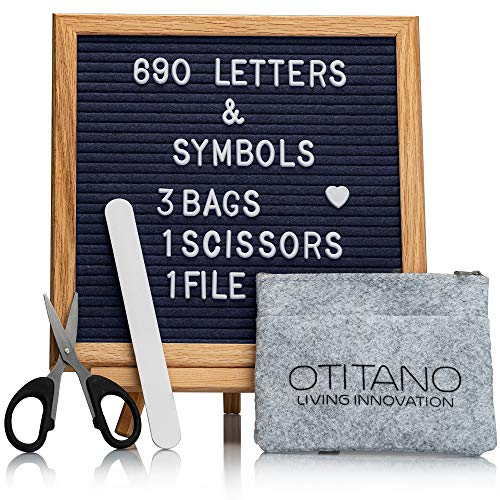 Felt Letter Board 10x10 Inch with Letters – 630 Changeable Felt Board Letters White & Gold Characters,Cursive Words,Symbols,Changeable Letter Boards with Stand,Wall Mount,Wood Easel,Scissors,File,Bags