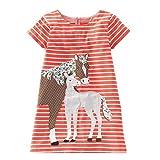 Beilei Creations Mädchen Kleider Kurzarm Baumwolle Kinder Kleid Süßes Muster Gr.85-130 (6Jahre/120cm, Oranges Pferd)