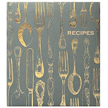 Eccolo World Traveler Recipe Keeper, Vintage Utensils, Grey/Gold