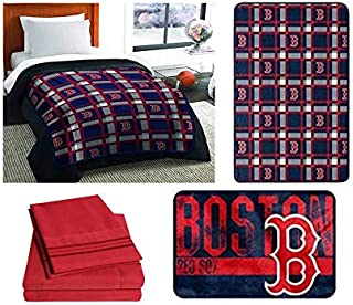 Northwest MLB Boston Red Sox 6pc Twin Bedding Set - Includes Comforter, Flat Sheet, Fitted Sheet, Pillowcase, Blanket and Rug