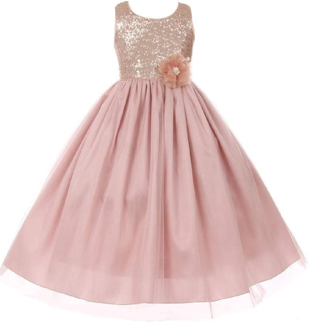 Little Girls Elegant Max 83% OFF Cheap sale Sequin Tulle Cascade Wedding Pageant Flower
