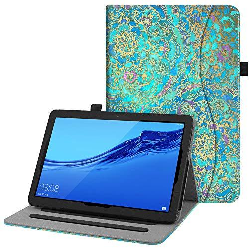 FINTIE Custodia Cover per Huawei MediaPad T5 10 - [Multi-angli] Slim Fit Folio Pieghevole Cover Protettiva con Tasca delle Carte per Huawei MediaPad T5 10.1 Pollici 2018, Shades of Blue