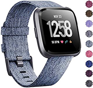 Alician Woven Watch Band Compatible with Fitbit Versa/Fitbit Versa 2/Fitbit Versa Lite Edition Breathable Fabric Strap for Men Women Smartwatch Light blue