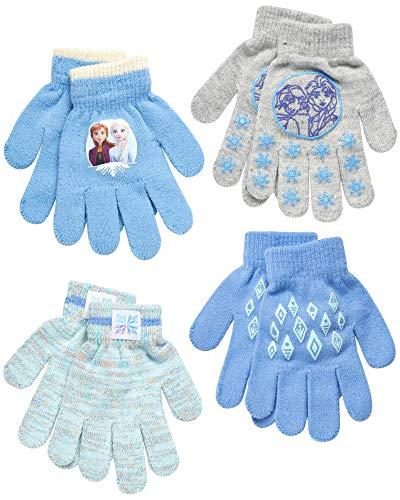 Disney Toddler and Little Girls' Frozen Gloves or Mittens (4 Pack), Size Age 4-7, Frozen Gloves White/Purple
