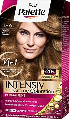 Poly Palette Intensiv Creme Coloration, 486 Zartes Mittelblond Stufe 3, 3er Pack (3 x 115 ml)