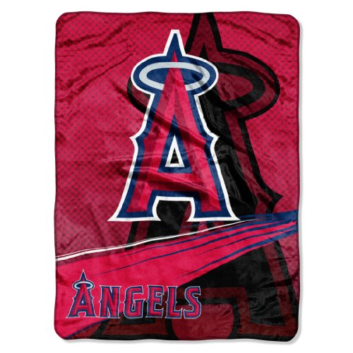 Officially Licensed MLB Los Angeles Angels 'Speed' Plush Raschel Throw Blanket, 60' x 80', Multi Color