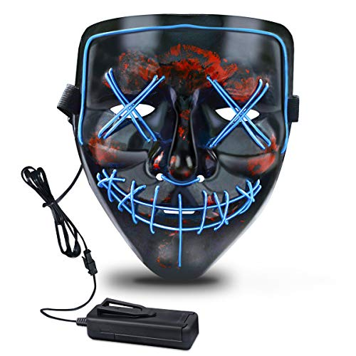 Halloween Mask, LED Mask with 3 Light Modes Light Up Scary Mask for Halloween Costumes, Cosplay, Festival, Party Ideal or Men, Women, and Kids Comfortable All Night Wear Black