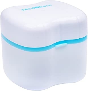Medokare Denture Cup with Strainer, Denture Case with Lid, Dentures Box, Dental Retainer Container, Denture Bath Cleaning Soaking Cup, Mouth Guard Night Gum Shield Travel Storage Case