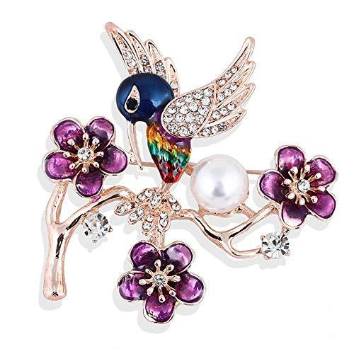 U/N Aleacin de Diamantes de imitacin Ciruela Flor Bosque pjaro Perla Broche Pin Broche Disfraz