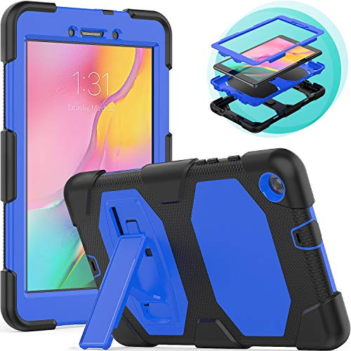 Timecity Samsung Galaxy Tab A8 Case (Only Fit SM-T290N/SM-T295N 2019 Release).Rugged Stand Case for Galaxy Tab A 8.0 Inch 2019 Without S Pen Tablet Model SM-T290N (Wi-Fi) SM-T295N (LTE)–Black+Blue