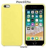 Funda Silicona para iPhone 6 Plus y 6s Plus Silicone Case, Logo Manzana, Textura Suave, Forro Microfibra (Amarillo)