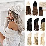 XBwig Knitted Beanie Hat With Hair Wigs For Women Curly Long Wavy Synthetic Wig Warm Soft Ski Winter Cap With Beige Pom Pom 20 inch Bleach Blonde Hairpieces